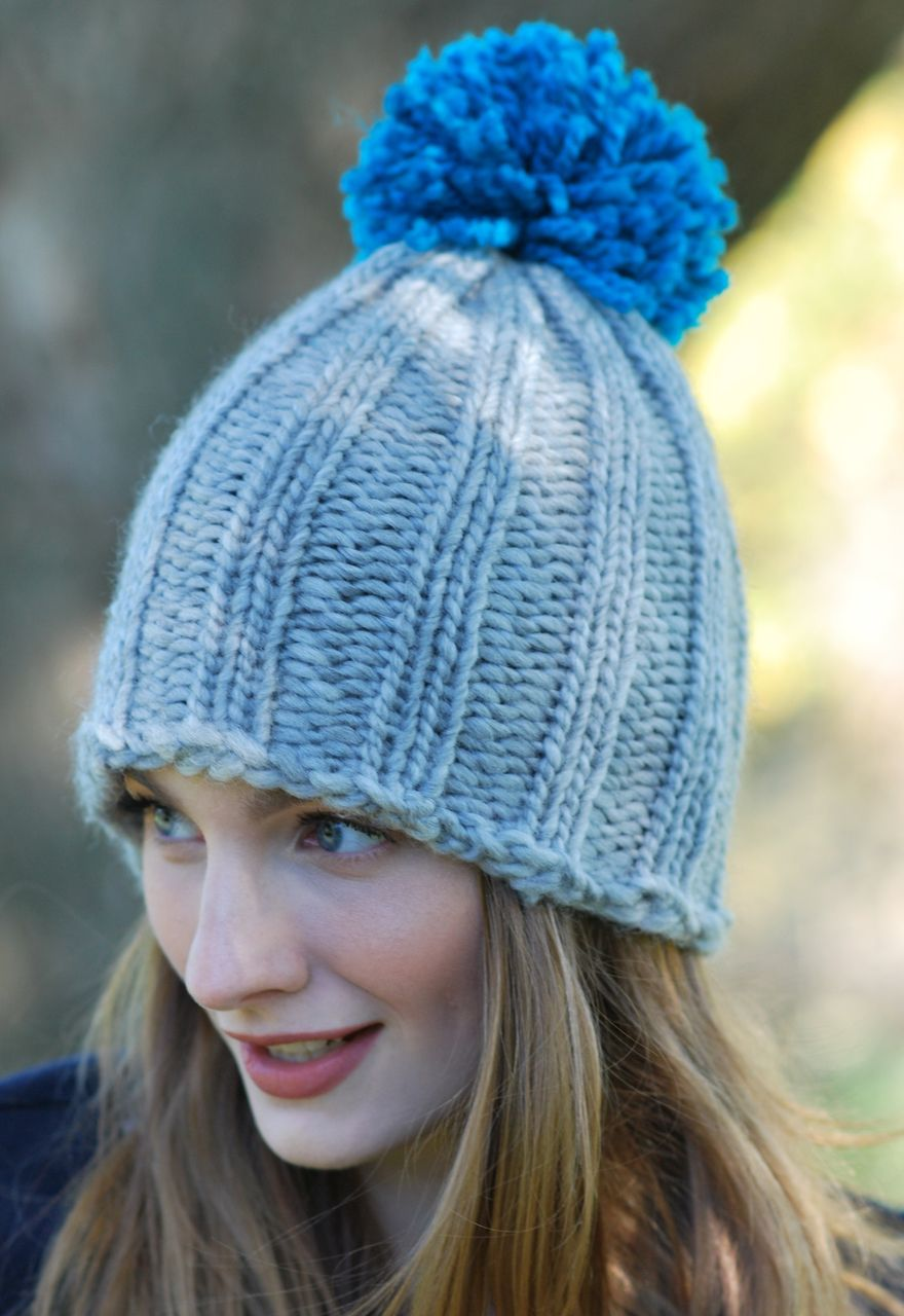 Chunky Rib Pompom Hat   Loom knit hat, Loom knitting ...
