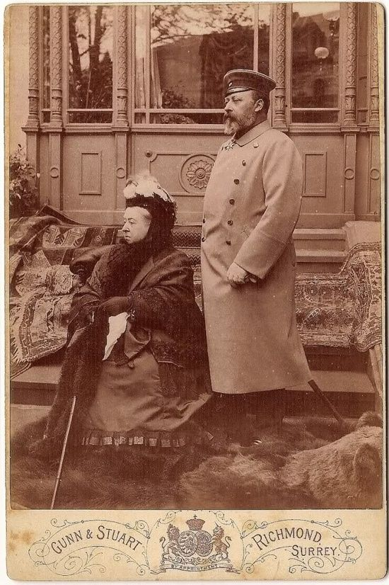 Queen Victoria and the future King Edward VII (father of George V)