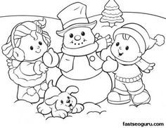 Printable coloring sheet of Christmas Kids And Snowman - Printable Coloring Pages For Kids