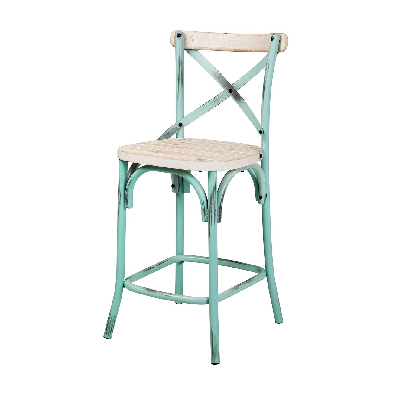 Rustic White Washed Reclaimed Pine Crossback Counter Stool The