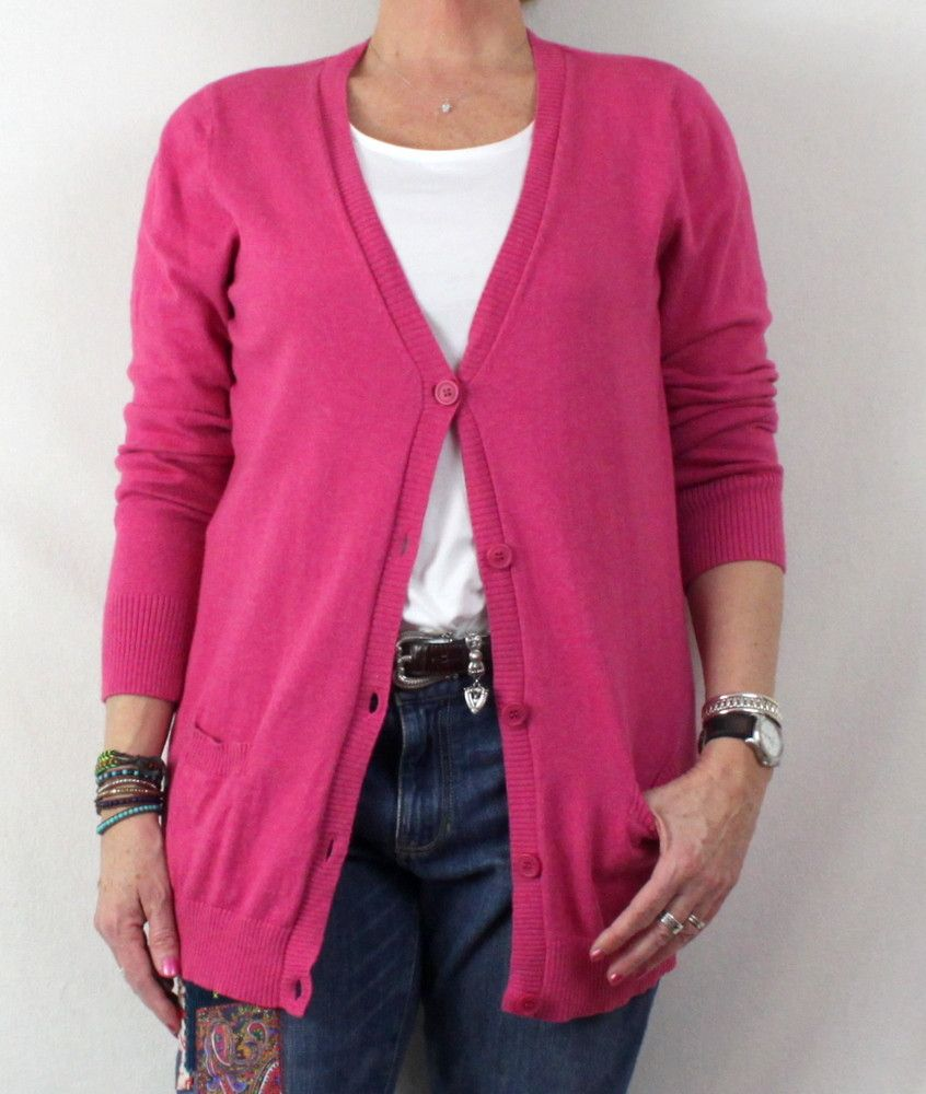 Nice LL Bean XL size Pink Cardigan Sweater Cotton Cashmere ...