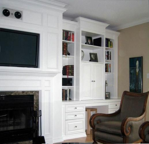 Media Center Desk Wall Unit