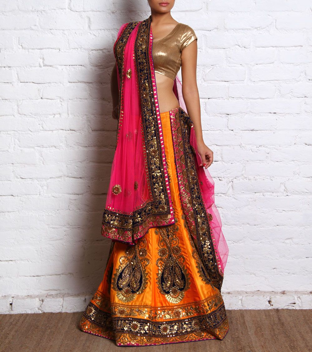 Orange and Yellow Silk Lehenga Set