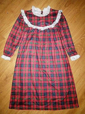 GIRL S Lanz of Salzburg TARTAN RED PLAID NIGHTGOWN Gown Size S Small 6 6x e795eed82