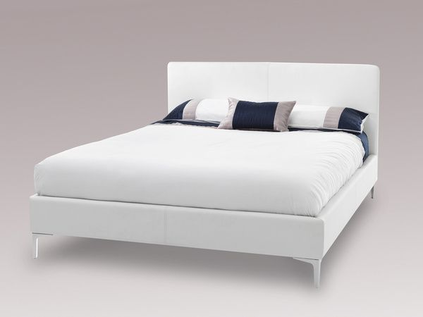 Serene Super King Size White Faux Leather Bed Frame With 3 Pillow