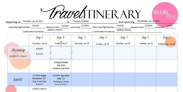 6 Travel Itinerary Templates Itinerary Template Travel