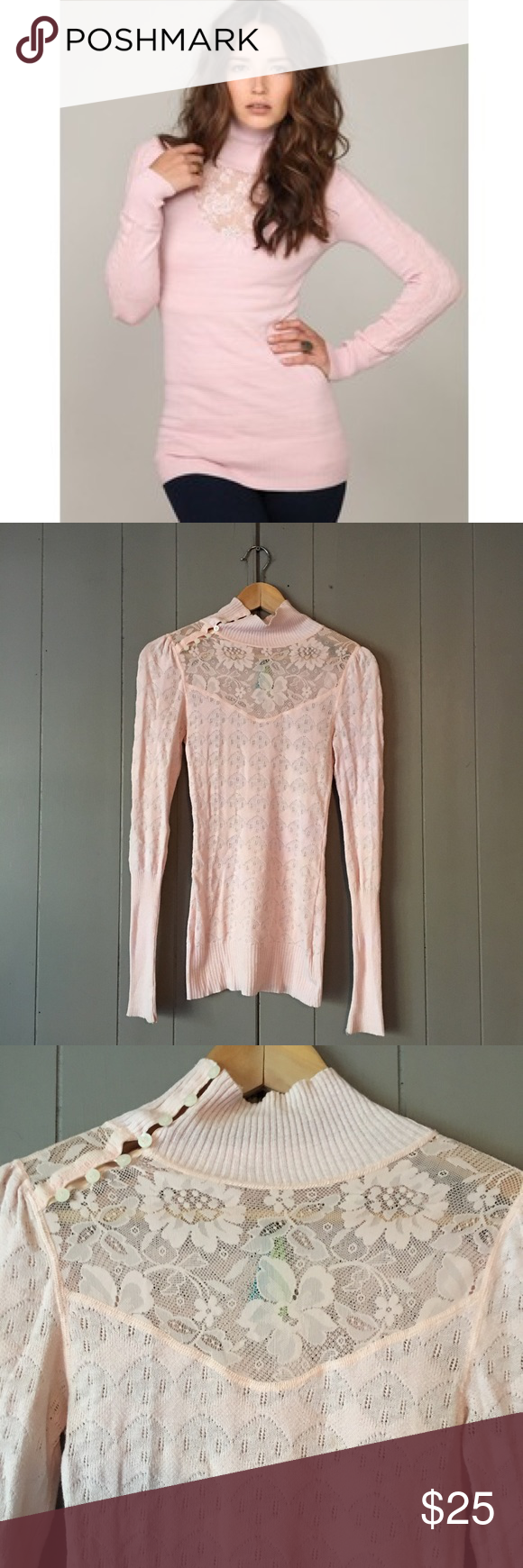Free People Light Pink Lace Cotton Sweater✨ | Cotton sweater ...