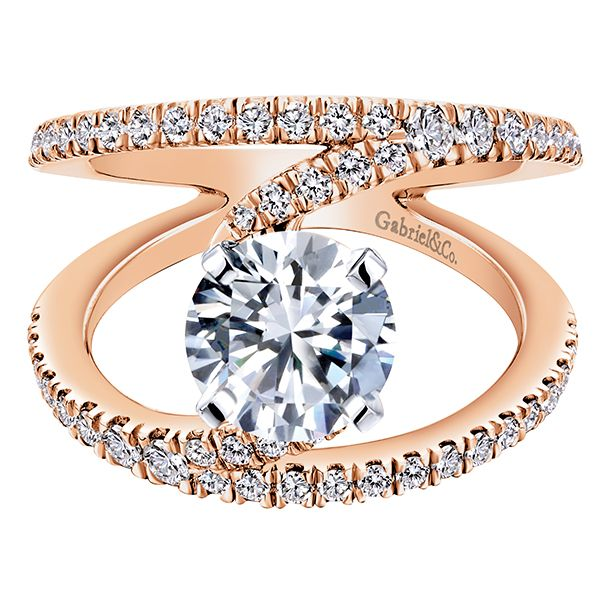 14k White/pink Gold Diamond Split Shank Engagement Ring | Gabriel & Co NY | ER12416R4T44JJ