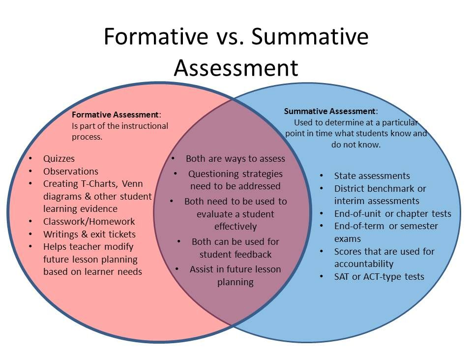 Formative Vs Summative Assessments Assessment Documentation