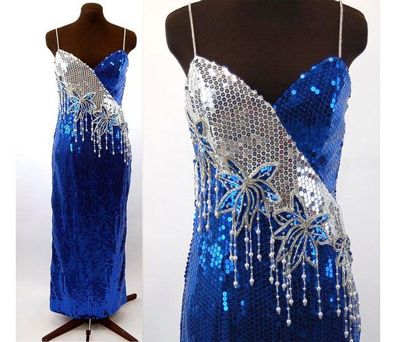 1980s sequin gown beaded gown Alyce Designs rotal blue white silver fringe spaghetti straps pageant dress Size L