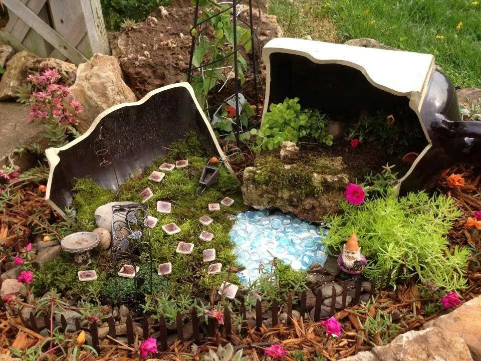 Gnome Garden Ideas fairy gardens Broken Pot Gnome Garden