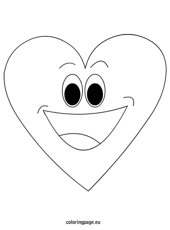 Cartoon Heart Man Coloring Cartoon Heart Coloring Pages Heart Smiley