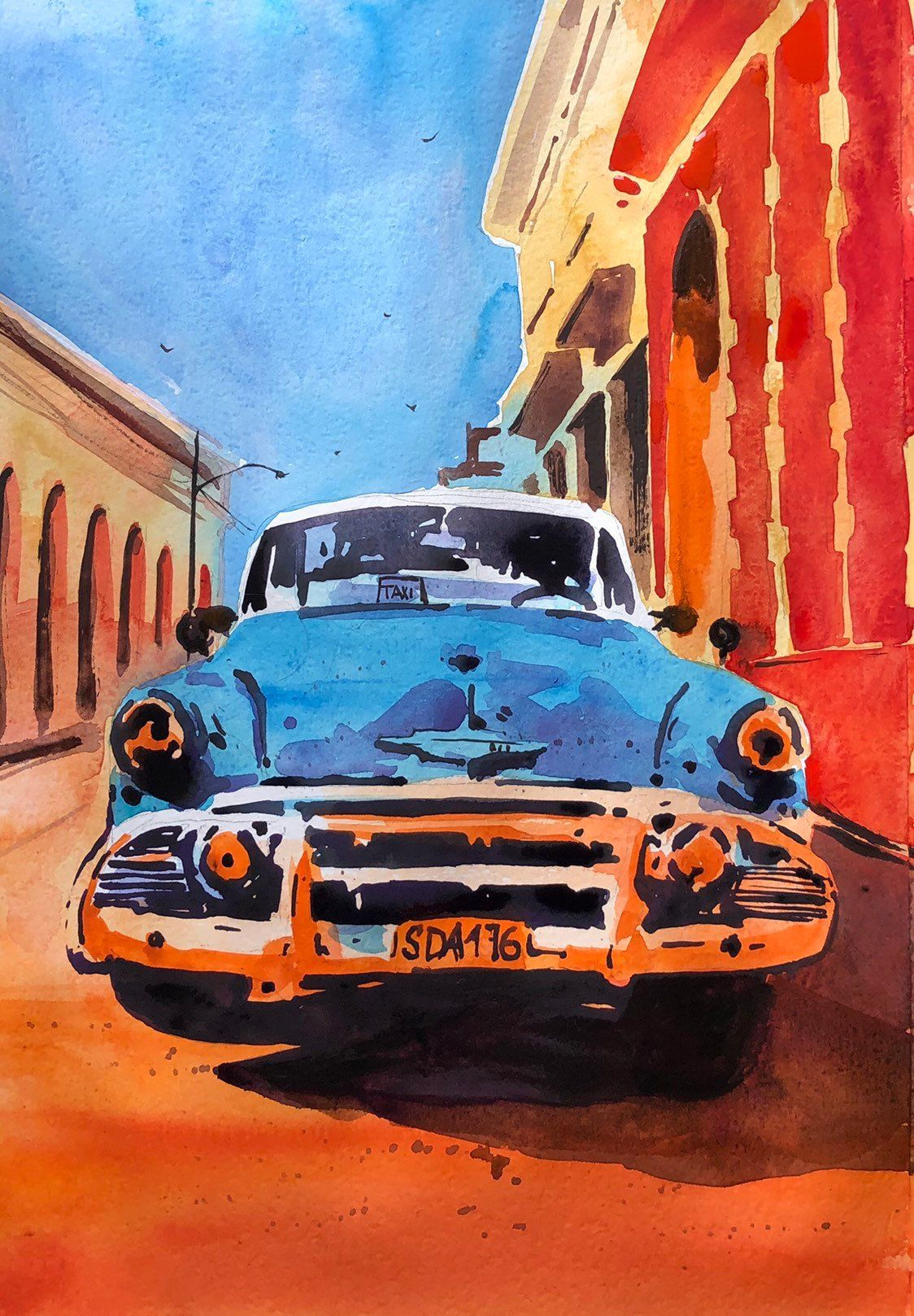 Blue Chevrolet Bel Air in Trinidad / car watercolor