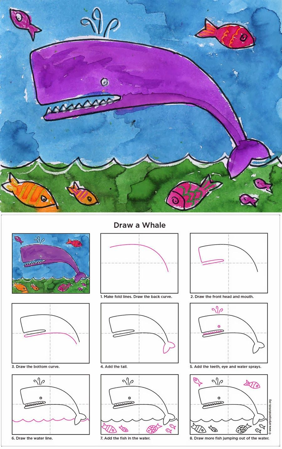 How to Draw a Whale Tutorial - ART PROJECTS FOR KIDS