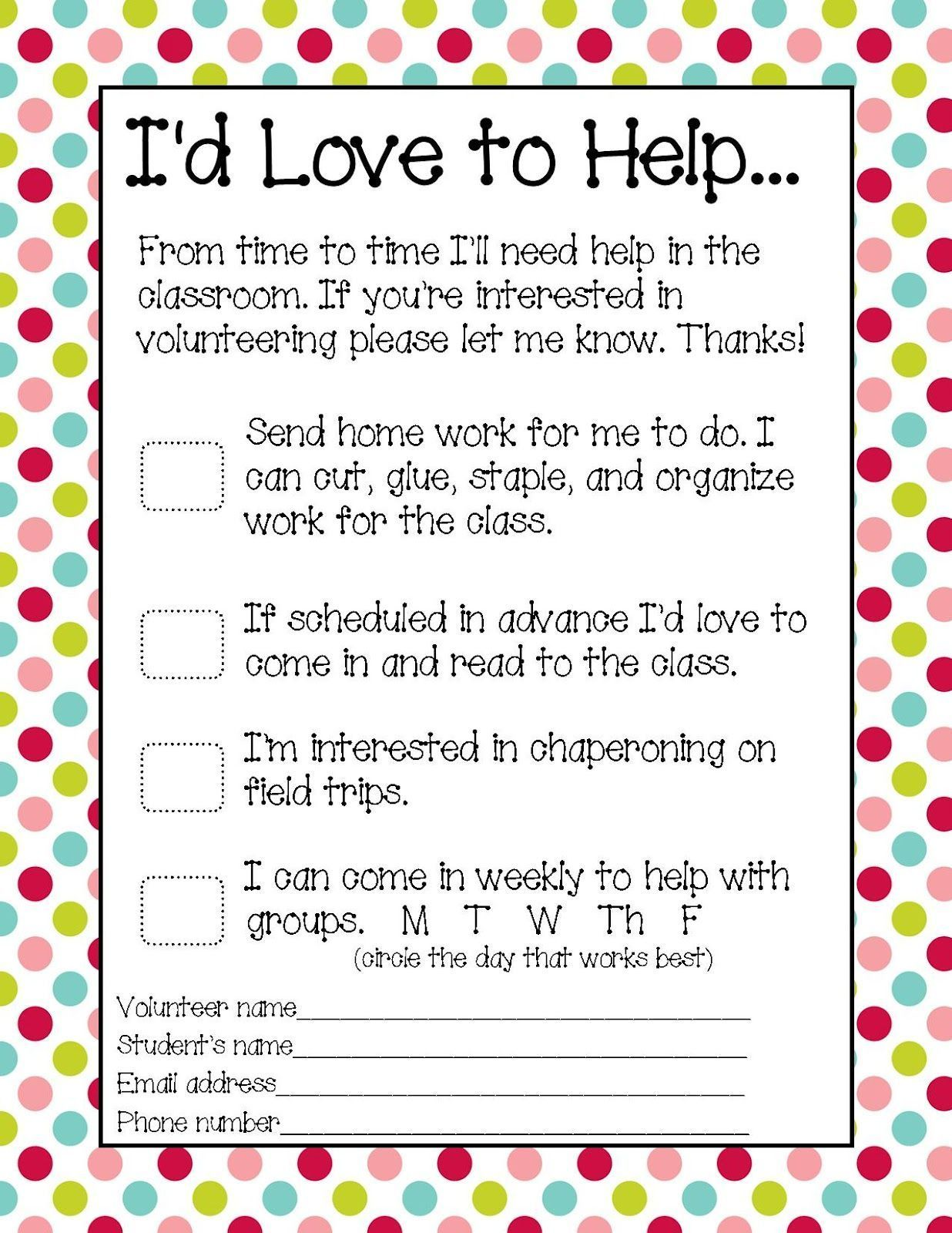 You Might Be A First Grader Parent Volunteer Form