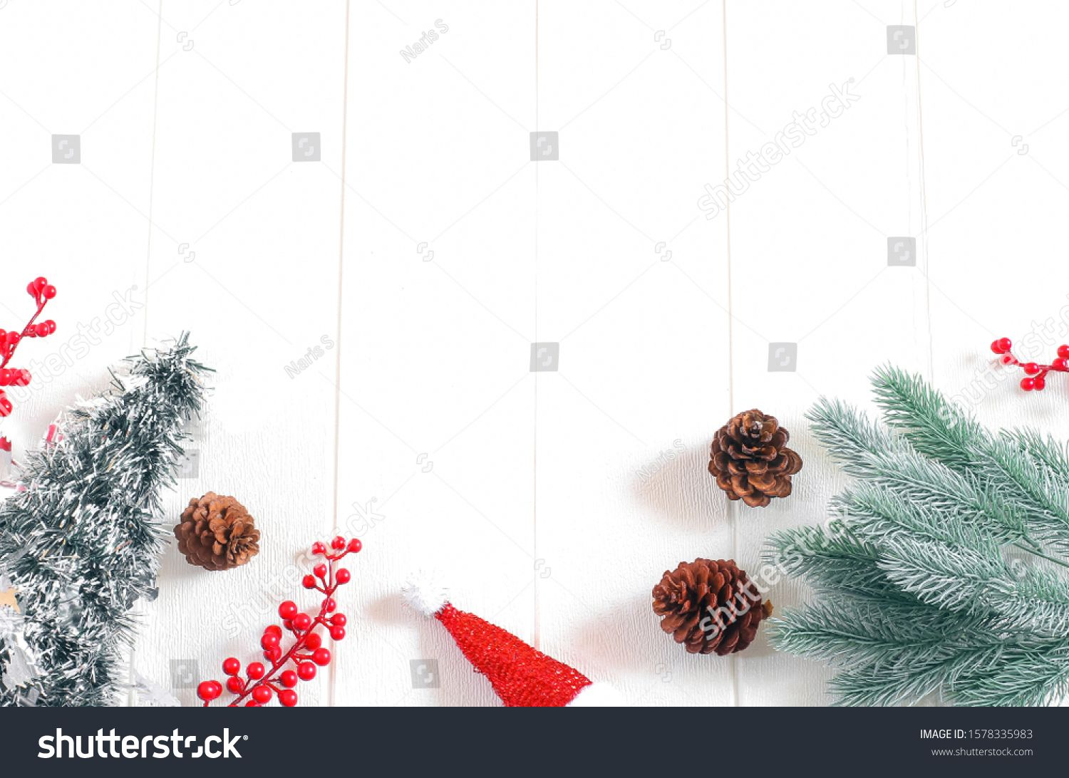 Christmas Frame Composition Fir Tree Branches Pinecone Santa Claus Hat Christmas Tree On White Wooden Background T Christmas Frames Tree Branches Fir Tree