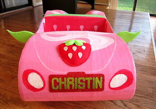 Strawberry Shortcake Car - How to build it out of cardboard, paper mache and paint!