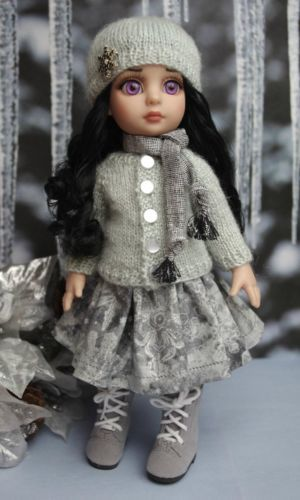 """~SiLVeR SNoWFLaKeS~...a special handknit sweater,hat,skirt,& scarf for Patsy,Ann Estelle 10""""dolls. Created in gorgeous silver and white tones, it's the perfect outfit for your Patsy for winter. On my ebay now. May also fit Bitty Bethany 11"""" dolls by Kish and Tonner Sophie dolls. Click on pix to take you to the listing. You can buy it now and this is the last set I have. THIS SET SOLD, BUT YOU CAN order one off my website!"""