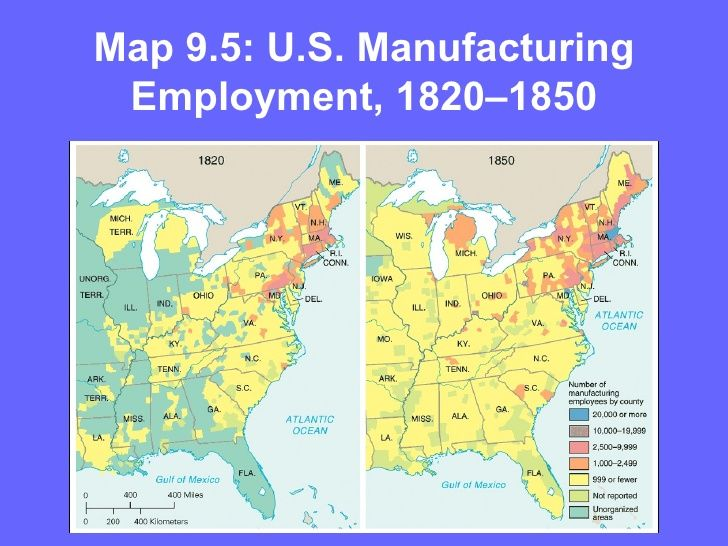 US Manufacturing Employment Antebellum - Us in the 1860s map