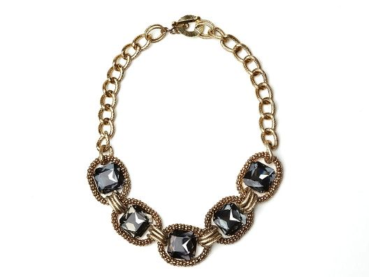 Burnished Gold & Crystal Necklace by Geranium