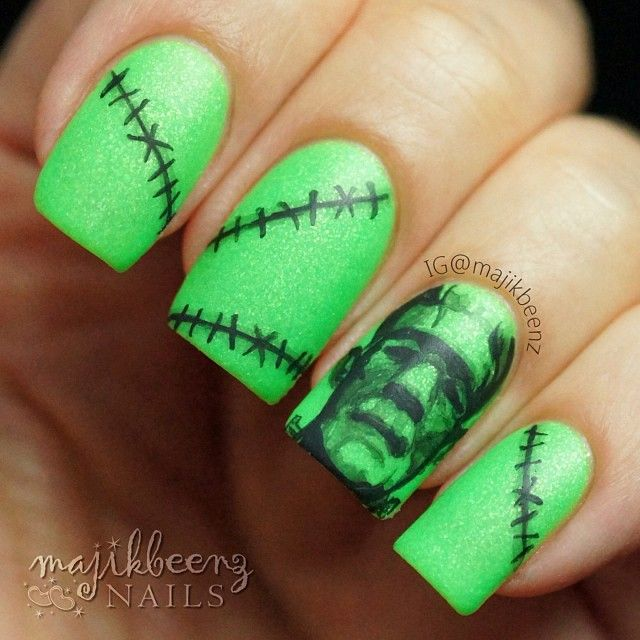 Frankenstein Nails | Creativity | Pinterest | OPI, Acrílicos y Brillante