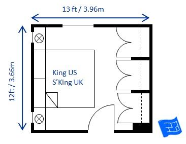 Small bedroom design for king size bed size 12 x 13ft. The placement ...