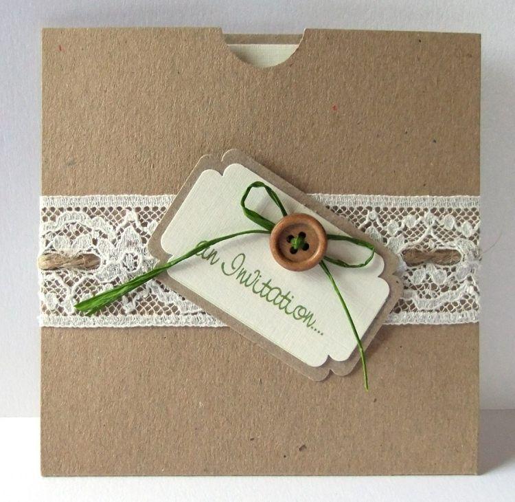 attractive selbstgemachte einladungskarten #2: Handgemachte Einladungskarten für Hochzeit - 90 Ideen