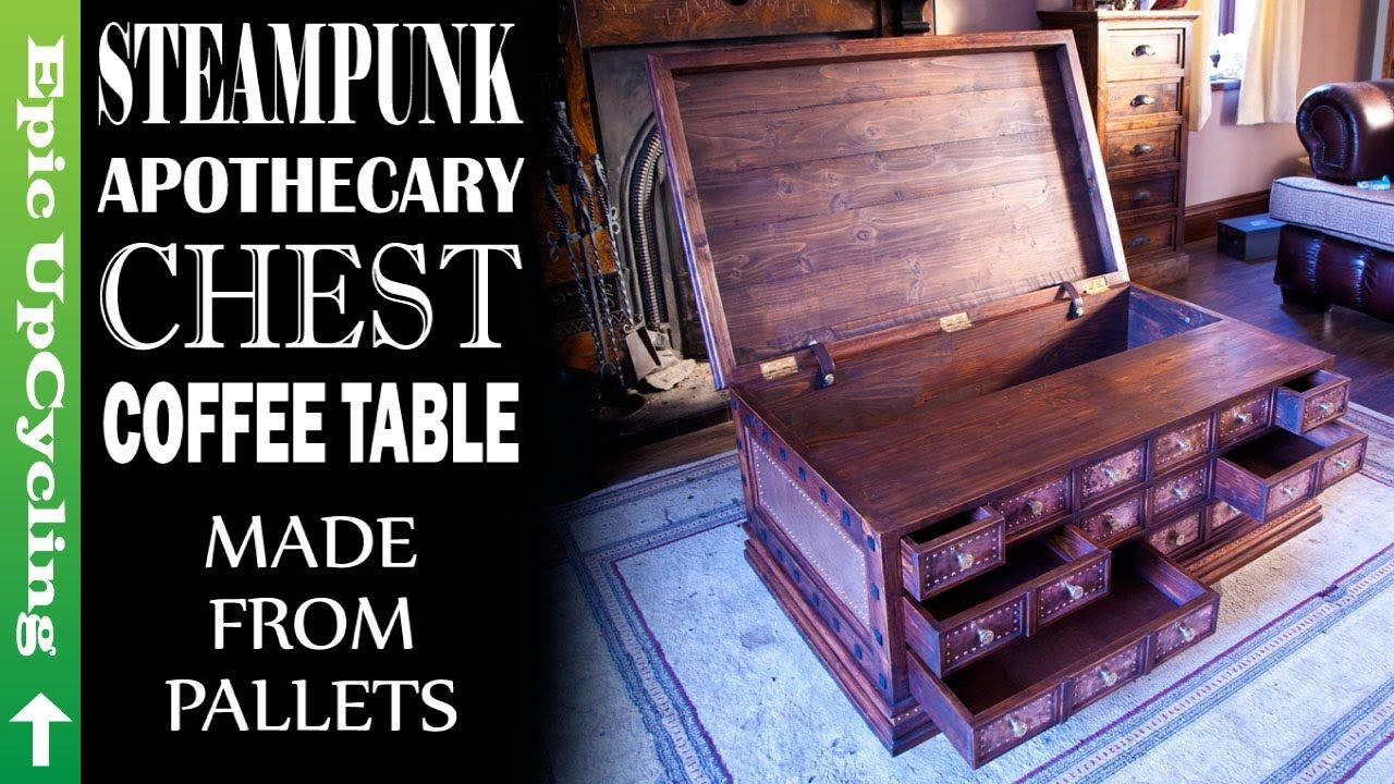 Steampunk Apothecary Chest Coffee Table Made From Pallet Wood And Recycled Copper Youtube Chest Coffee Table Coffee Table Made From Pallets Wood Pallets [ 720 x 1280 Pixel ]
