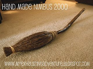 Homemade Nimbus 2000 broom.  I really need to make this...for my kids and NOT for myself;)