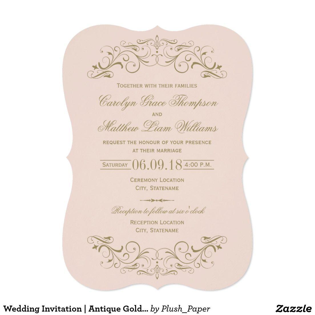 Wedding Invitation | Antique Gold Flourish | Gold Wedding ...