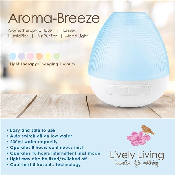 Aroma Breeze Ultrasonic Air Humidifier Diffuser Purifier with Light