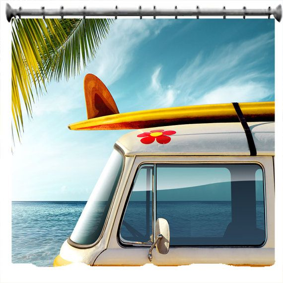 Vintage Van With Surfboard Shower Curtain Choice By Susanakame1