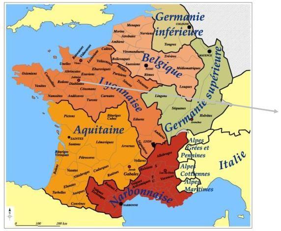 carte de la gaule romaine la Gaule romaine.  1) Histoire, 4: Sous le terme de Gaule romaine