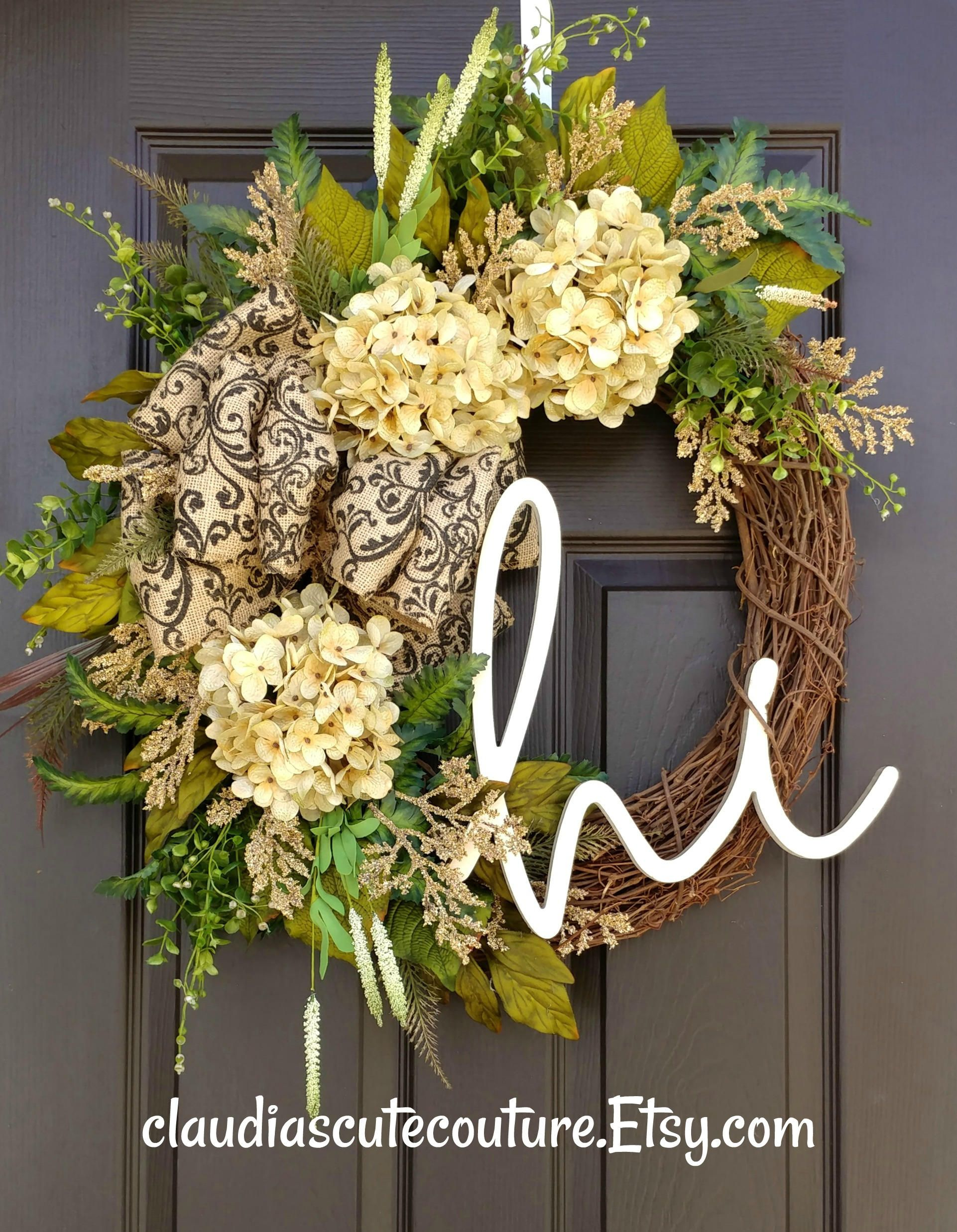 Cream Hydrangea Wreath,Summer Wreath,Grapevine Wreath,Front Door Wreath,Housewarming Gift