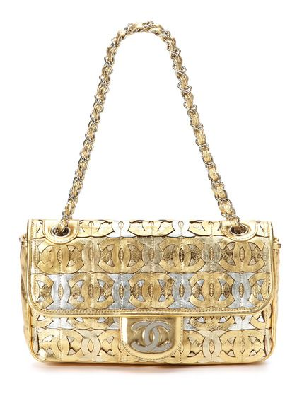 a92ac7fd6c44 Limited Edition Metallic Gold and Silver CC Logo Flap Bag by Chanel on  Gilt.com