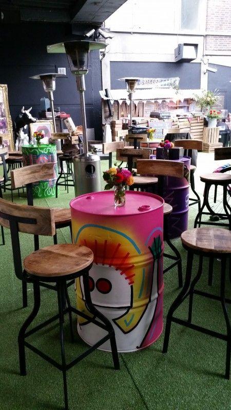 Graffiti oil drum pink caribbean theme beach party
