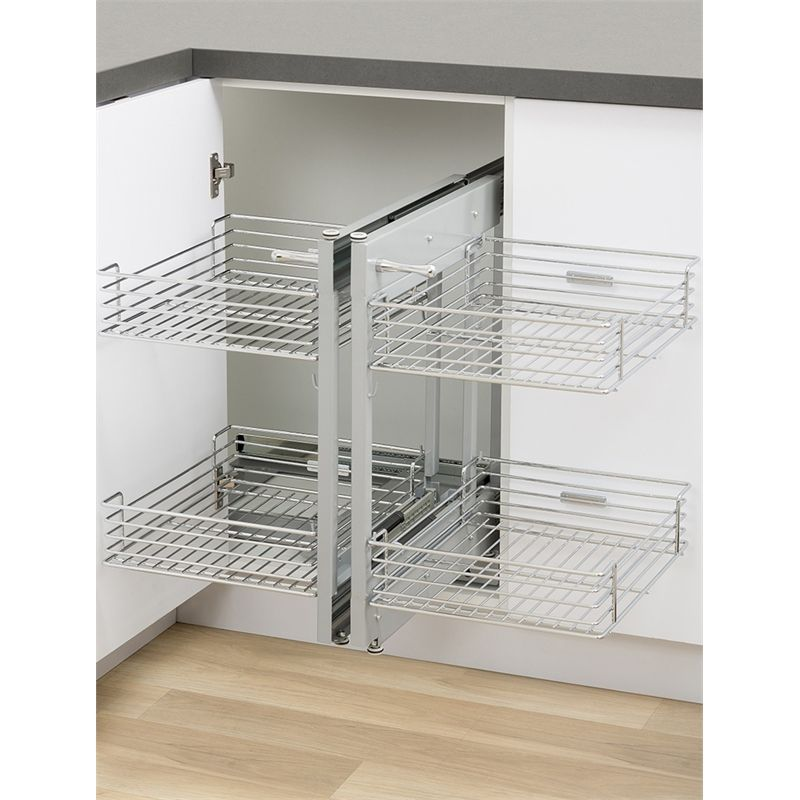 Beau Kaboodle Blind Corner 2 Tier Soft Close Pull Out Baskets At Bunnings