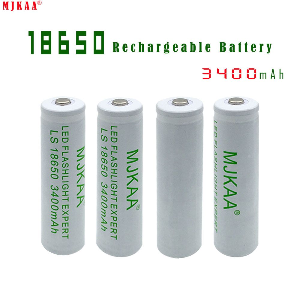 Mjkaa 4pcs 18650 Rechargeable Battery 3400mah Not Aa Aaa 3 7v Mah Li Ion Tip Head Click Visit To Buy Rechargeable Batteries Flashlight Electronic Accessories