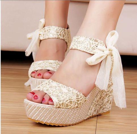 ankle strap lace ribbon platform wedges sandals