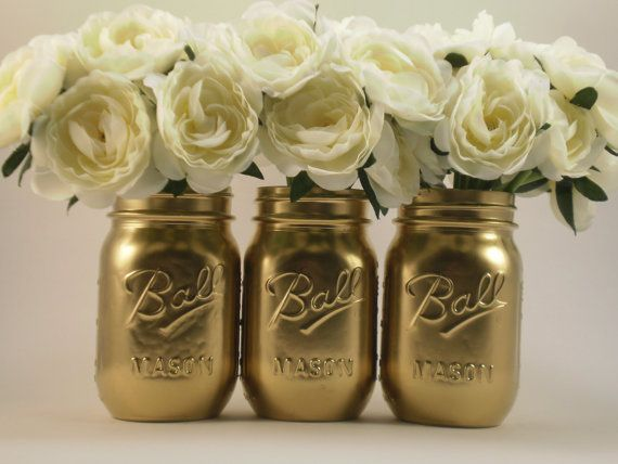Items similar to Wedding Centerpiece, Bridal Shower Centerpiece, Wedding Decor, Shabby Chic Mason Jars, Gold Mason Jars, Painted Mason Jars on Etsy