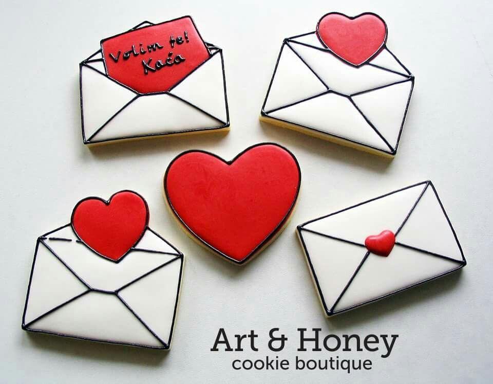 Art & Honey Cookie Boutique:  Valentine's day envelopes.  Love note.  Hearts.
