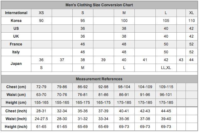 Men S Clothing Size Conversion Chart