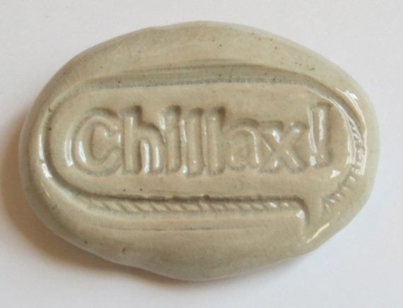 CHILLAX Pocket Stone  Ceramic  SMOKY BLUE Art by InnerArtPeace, $6.00