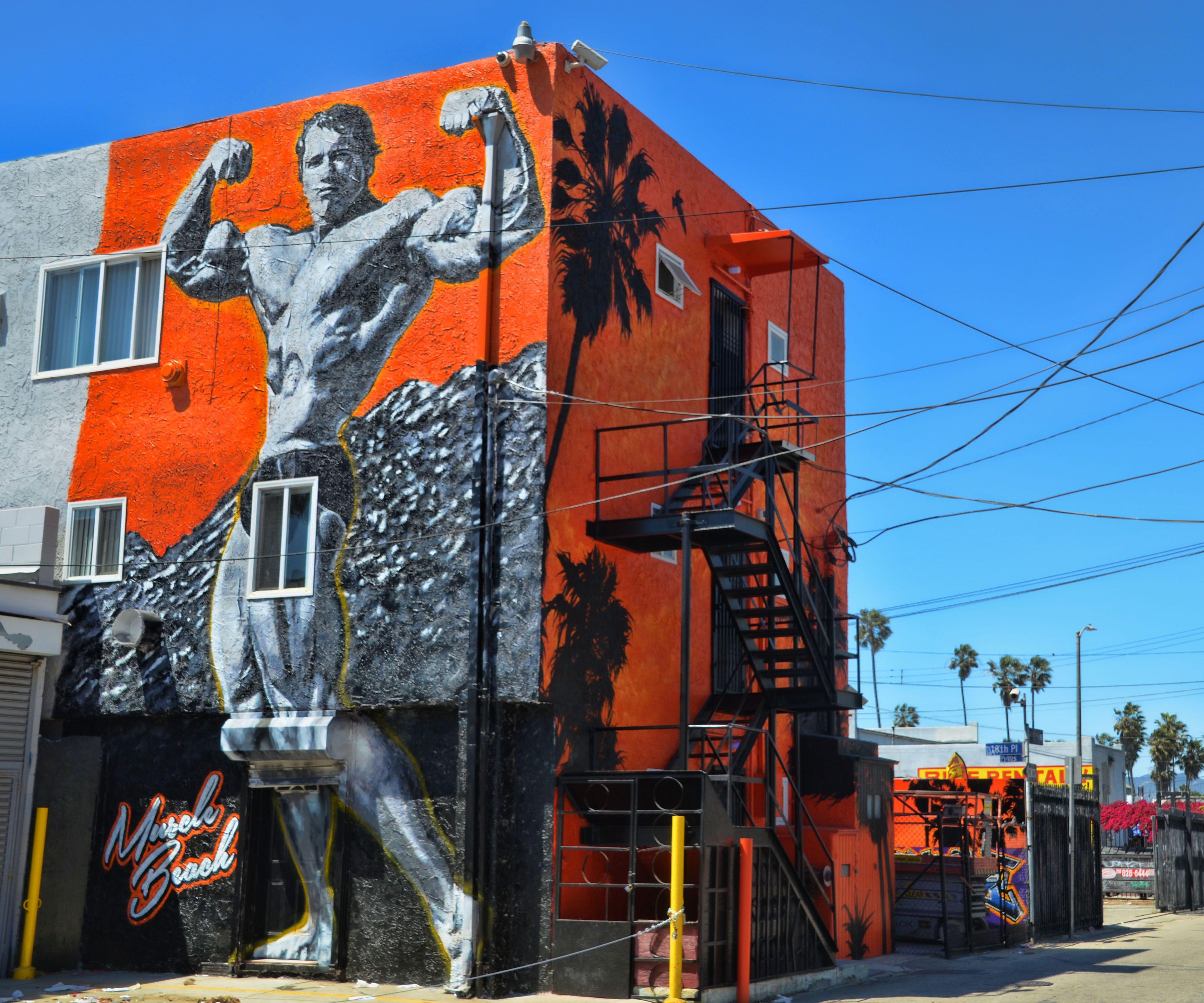 Arnold Schwarzenegger Muscle Beach Street Art In Venice Ca