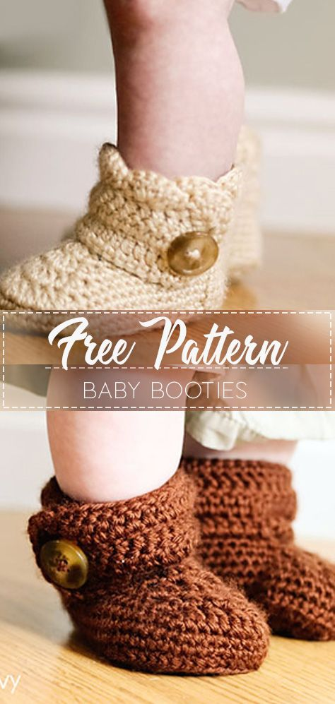 Button baby boots – Pattern Free  #crochetbabyboots