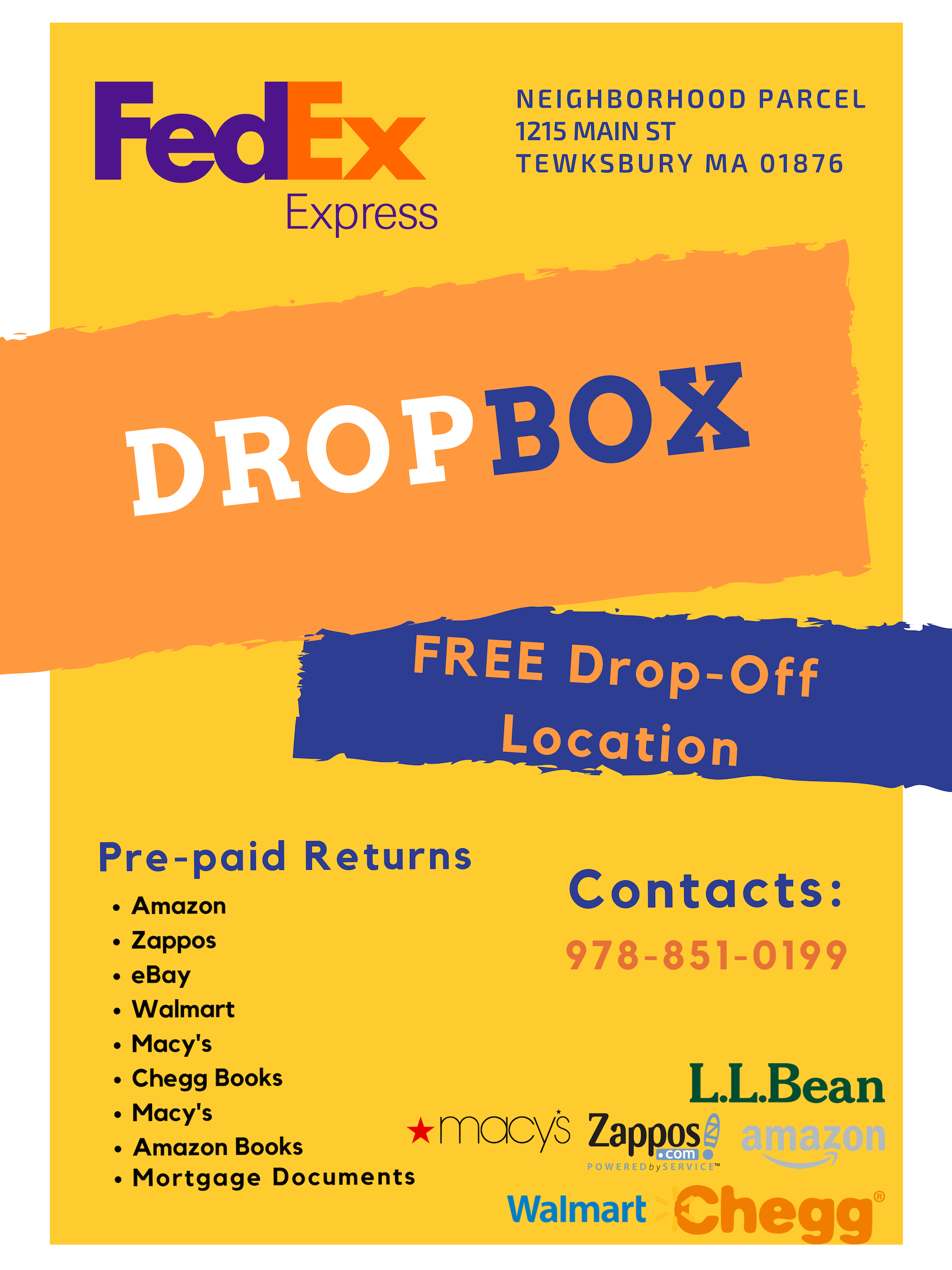 Free FedEx Dropbox location, conveniently located at 1215