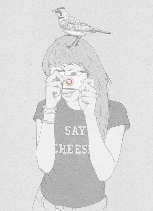Say Cheese! Girl with Bird on Head Taking Photo Line ...  Say Cheese! Gir...