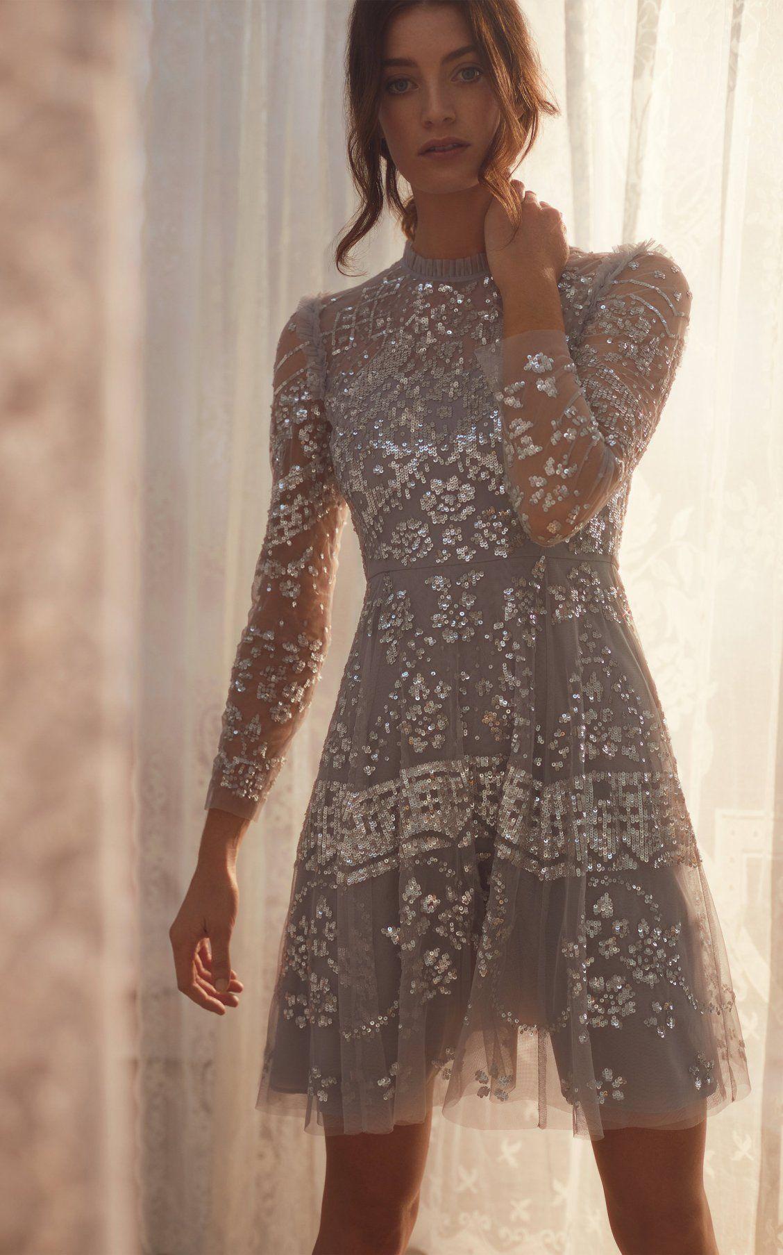 Aurora Sequin Tulle Mini Dress by Needle & Thread PF17  Kleider