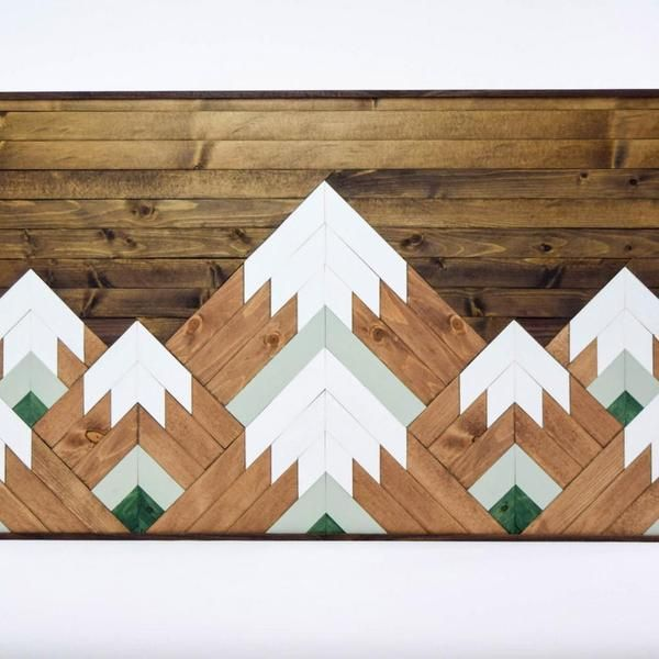 Geometric Mountain Tops Wooden Wall Art - Upper Earth For Home - paredes de madera