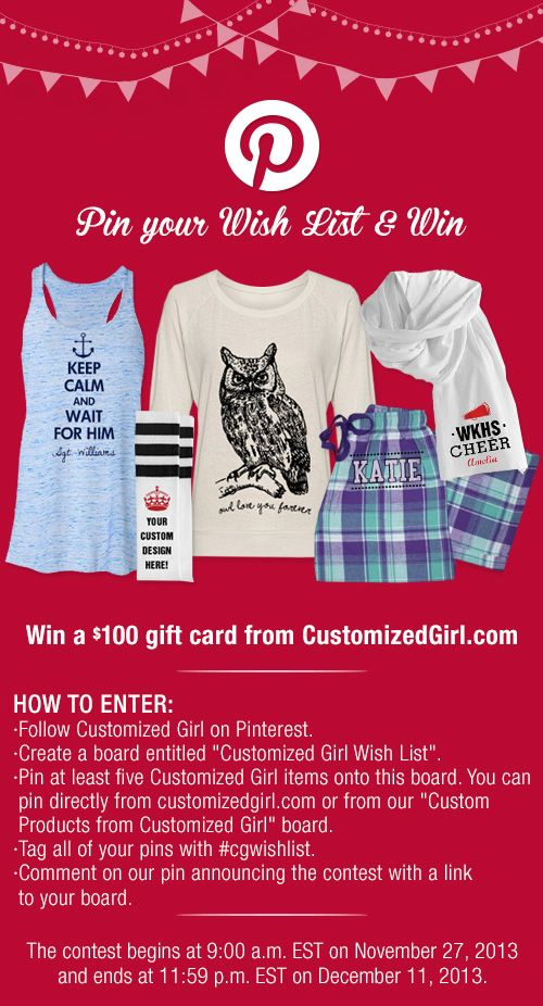 Pinterest Wish List Contest Customized Girl #contest #christmas #wishlist #cgwishlist